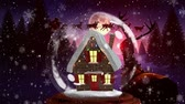 rena : Cute Christmas animation of hut and reindeer in the magical forest. Snowflakes is falling over forest at night 4k
