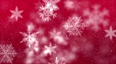 высоко : Digital animation of snowflake moving against the red background. Snow falling against background 4k