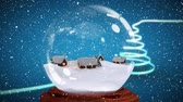 snow globe : Christmas animation of hut in snow globe. Snow falling in blue background 4k