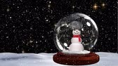 sněhulák : Cute Christmas animation of snowman in snowy landscape. Snow falling against black background 4k