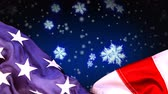amerikaanse vlag : Digital animation of American flag and snowflakes, Snow falling in background 4k Stockvideo