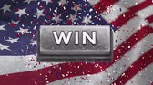 cg graphics : Conceptual digital animation showing victory in elections. Confetti and American flag behind the win symbol 4k Stock Footage