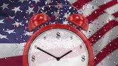 čest : Digital animation of alarm clock against swaying American flag. Confetti and American flag in background 4k