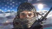 jihad : Digital animation of terrorist holding rifle against swaying American flag. Clouds moving in the sky 4k