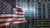 cg graphics : Digital Animation of American flag swaying against the buildings in city. Lights sparkling in between 4K