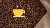 bag : hot yellow coffee cup logo against coffee beans in a bag background