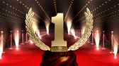 troféu : Winning Golden number one Trophy on red carpet with american flag against glowing technlogy animated background