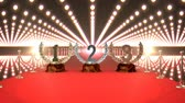 incentivo : Digital animated red carpet with trophies and flashing lights in the background Stock Footage