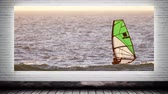 surfista : Digital composite of man wind surfing canvas mock up against animated grey brick wall