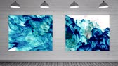 arte moderna : Digital animated Color explosions on Canvas mock up against grey bick wall