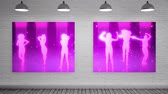 galeria : Digital animated Purple Canvas showing animated dancing against grey brick wall Archivo de Video