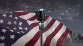 microphone : Microphone against animated american flag background