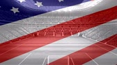 football player : Animated American flag against american football stadium background Stock Footage