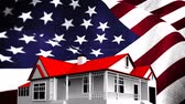 cg graphics : Animated American flag against animated house with red roof background