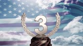 incentivo : Third Place Throphy against american flag background Stock Footage