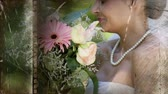 film leader : Old Movie tape showing happy bride at wedding holding flowers Stock Footage