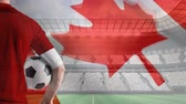 football player : Composite image of football player against animated canadian flag blowing in the wind