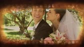 role : Old movie tape showing happy newly married couple on their wedding day