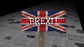siyaset : Brexit britain flag against animated news paper news express Stok Video
