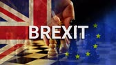 failliet : Checkerboard against animated Eu and britain flag background