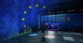 идентичность : businesswoman against data animate background with EU flag baclground Стоковые видеозаписи