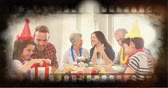 film leader : Old Movie tape showing family celebration and children unwrapping gifts