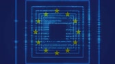 bruto : EU Flag against animated digital blue codes background