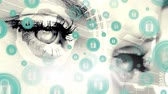 bruto : Animated eyes looking at screen against digital animated blue internet safety lock background Stock Footage