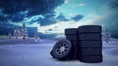 snow globe : Animated Wheels outside against digital animated snow background