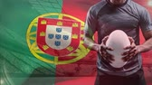 rugby : Digital composite of Portuguese rugby player holding a rugby ball against Portugal flag