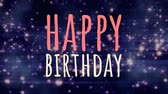 szavak : Digital composite of happy birthday against blue background with shimmering twinkles Stock mozgókép