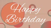 sözler : Digital composite of happy birthday text against pastel background with dots and circles Stok Video