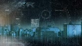 スキャン : Digital composite of city skyline with scanners looking through the city