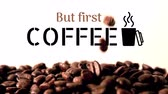 logotipo : but first coffee text with coffee cup logo and coffee beans falling