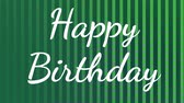 verticales : happy birthday text with animated green lines and squares background Archivo de Video