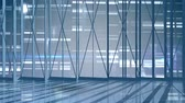 corporativa : Animated empty office with bright lights and letters in the background Stock Footage