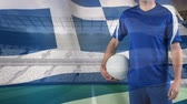 liga : Front view Greek soccer shirt with national flag and football ball. 3D Rendering  Illustration