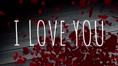 coração : Front view of digital composite of I LOVE YOU animation with red heart drop backdrop