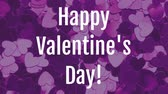 przyjaźń : Front view of Valentines day animation with dynamic heart purple background