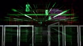 cyber : Data network servers on a cyber background with green light rays moving Stock Footage