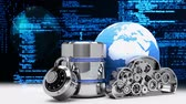 güvenli : Digital composite of cloud animation with gears, globe and security lock against matrix code background
