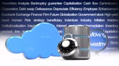 loupe : Front view animation of  symbols of cloud security against a moving wall with vocabulary business background Stock Footage