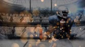 集合的な : Digital composite front view of american football match with bubble effects in foreground