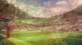 rugby : Digital composite of a rugby stadium with a fake fire and an American flag