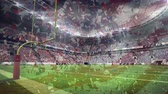 aplaudiendo : Digital composite of American football stadium with american flag and red white blue coloured coffetti raining down on foreground
