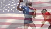 placage : Digital composite of Caucasian american football player plating African american quarterback with american flag on background