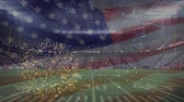 команда : Digital animation of a full american football stadium with fireworks animation and american flag waving on the foreground