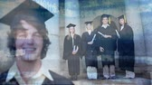 卒業 : Digital composite of young Caucasian male that just graduated wearing cap and gown with group of friends in gown and gap holding diploma in the background. Binary codes move on the foreground.