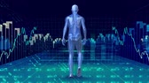 vědec : Digitally animated of human prototype walking surrounded by data fiancials in blue background