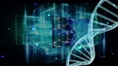 эффекты : Digitally generated animation of DNA helix with numeric screen against lines with blue light effects
